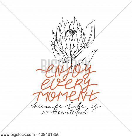 Trendy Abstract One Line Protea Flower And Lettering. Fashion Typography Slogan Design