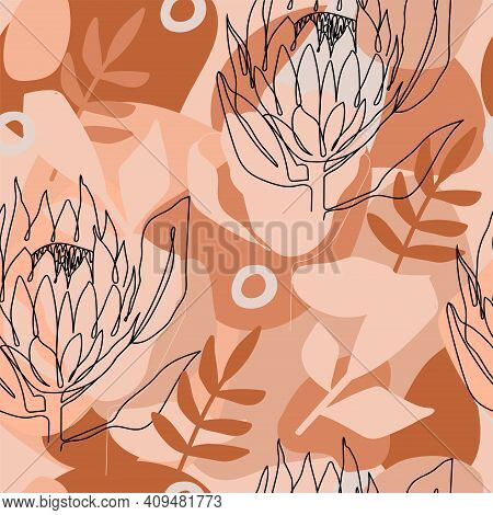 Terracotta Contemporary Fashion Abstract Seamless Pattern. One Line Continuous Protea Flower And Tre