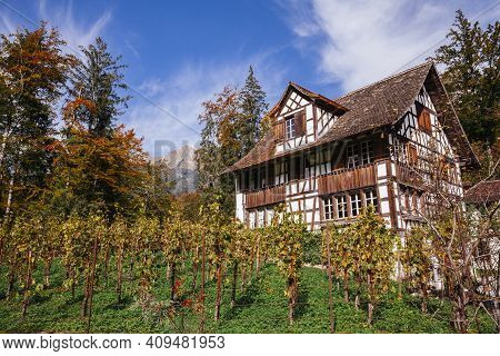 Ballenberg, Bern, Switzerland - September 10, 2020: Half-timbered Historic Building In Ballenberg, S