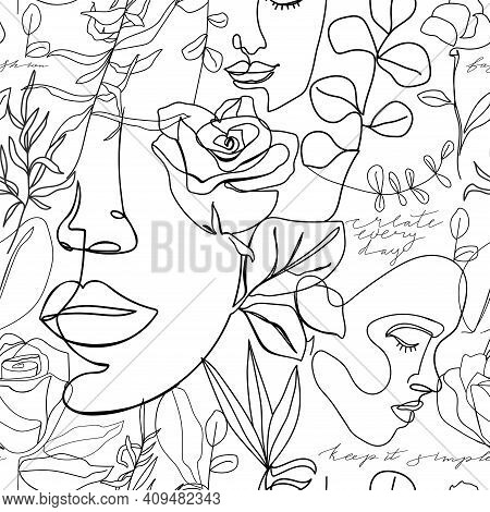 Contemporary Fashion Seamless Pattern. One Line Continuous Woman Face, Flowers, Leaves And Caligraph