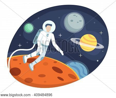 Astronaut Exploring Outer Space, Astronaut Floating In The Stratosphere. Cosmonaut In Spacesuit, Spa