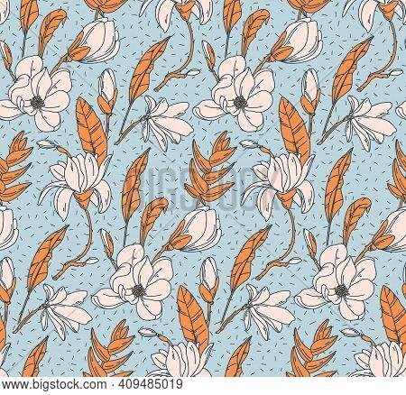 Floral Botanical Print. White Rose Modern Seamless Design Wild Garden Bloom. Line Art Repetition Pri