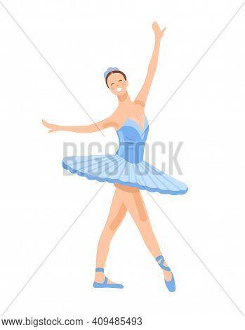 Ballerina In A Blue Ballet Tutu. Dancer In A Beautiful Pose. Ballet. Vector Flat Illustration.