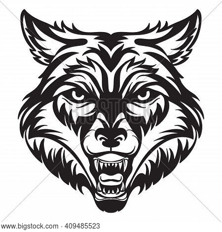 Mascot. Vector Head Of Wolf. Black Illustration Of Danger Wild Beast Isolated On White Background. F