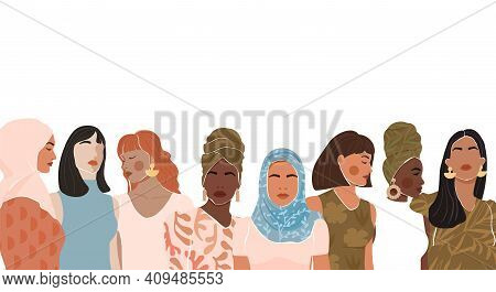 Abstract Woman Portrait Different Nationalities And Culture. Girl Power, Struggle For Equality, Femi