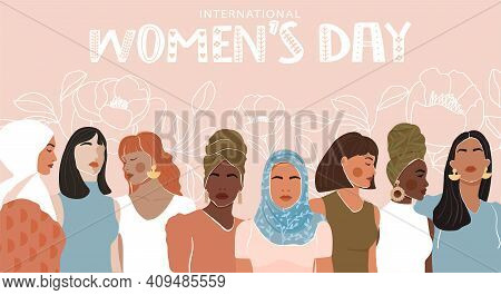 International Women's Day Greeting Banner. Abstract Woman Portrait Different Nationalities On Floral