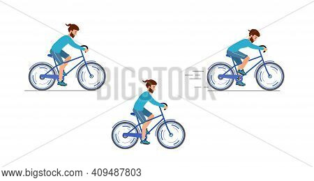 Cyclist Illustration On White Background . Racing Cyclist In Action Set.
