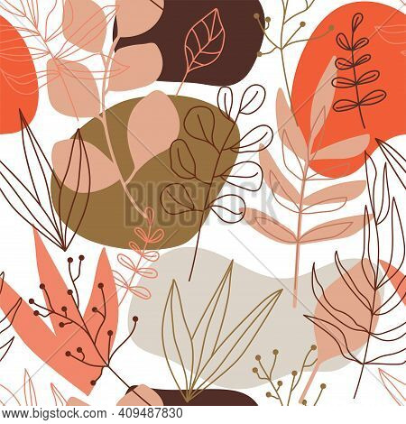 Contemporary Collage Seamless Pattern. Terracotta Abstract Shapes, Tropical Leaves And Continuous Li