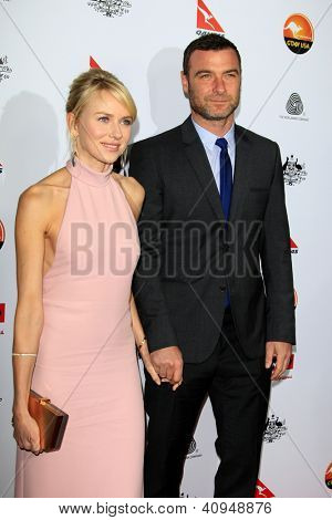 LOS ANGELES - JAN 12:  Liev Schreiber, Naomi Watts arrives at the 2013 G'Day USA Los Angeles Black Tie Gala at JW Marriott on January 12, 2013 in Los Angeles, CA..