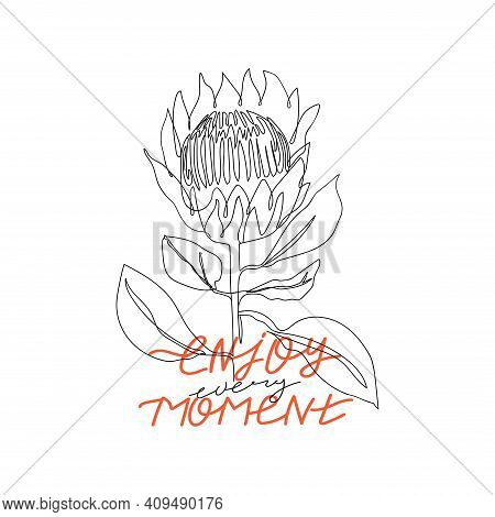 Trendy Abstract One Line Protea Flower With Lettering. Fashion Typography Slogan Design
