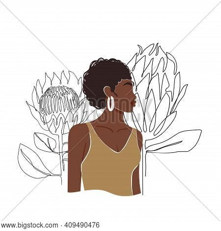 Contemporary Fashion Collage With Abstract African Woman Portrait And One Line Protea Flowers. Trend