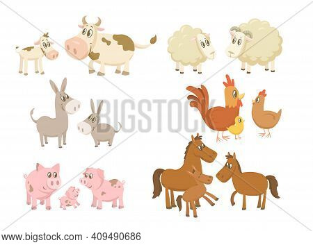 Funny Farm Animals Families Set. Cows, Sheep, Donkey, Horse, Pigs, Hen And Rooster With Baby Chick I