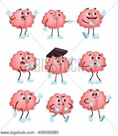 Trendy Cute Brain In Different Poses Flat Illustration Set. Cartoon Brainy Character Emotions Isolat