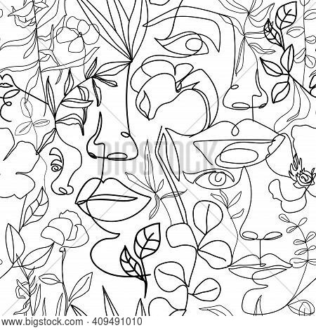 Contemporary Fashion Seamless Pattern. One Line Continuous Woman Face, Flowers And Leaves. Texture F