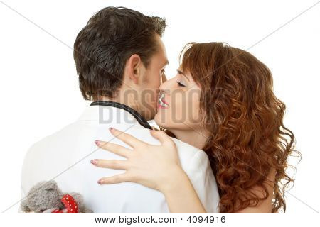 Close Up Portrait Of Attractive Couple Flirting Isolated On White