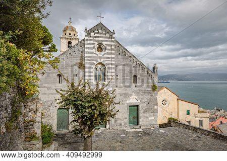 Cityscape. View Of Facade Of San Lorenzo Church, Portovenere, La Spezia, Liguria, Italy Of Porto Ven