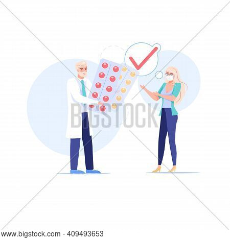 Vector Cartoon Flat Patient, Doctor Characters.physician Gives Prescribed Medications To Sick Person