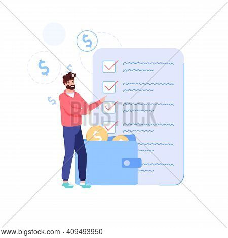 Vector Cartoon Flat Man Character Put Gold Coins In Wallet.happy Person Makes Home Budget Finance Ma