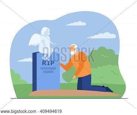Sad Grandfather Crying On Grave Of His Grandchild. Angel, Ghost, Sorrow Flat Vector Illustration. De