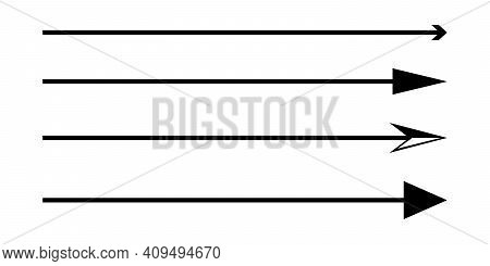 Set Of Vector Thin Long Arrows Pointing To The Right. Vector Elements