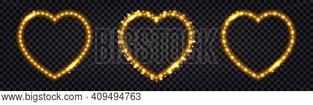 Neon Led Frames With Golden Lglowing Light Effect. Luminous Borders, Illuminated Garlands For Night
