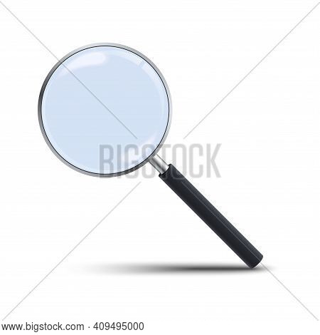 Realistic Magnifying Glass Isolated On White Background. 3d Magnifier Loupe With Glass And Dark Hand
