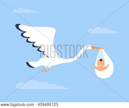 Happy Cute Baby Brought By Stork. Bird, Flight, Napkin Flat Vector Illustration. Childbirth And Infa