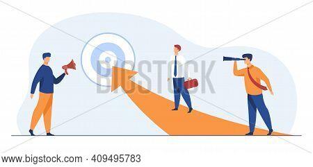 Successful Businessmen Reaching Target. Manager, Arrow, Goal Flat Vector Illustration. Achievement A