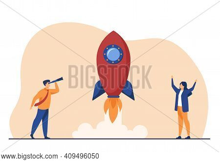 Happy People Watching Rocket Launch. Project, Flying, Up Flat Illustration. Business Startup And Ent