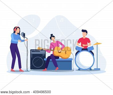 Musicians Play Musical Instruments. Group Of Musicians Playing Music, Band Concert Illustration. Mus