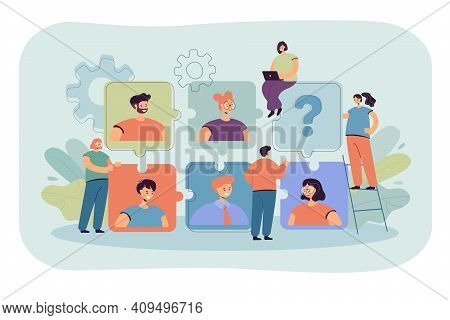 Tiny Hr Specialist Looking For Recruits For Job Flat Vector Illustration. Cartoon Business Employers