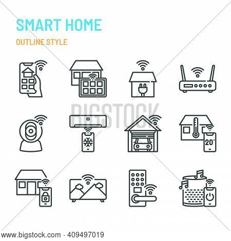 Smart Home Related In Outline Icon And Symbol Set