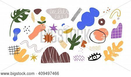 Bundle Of Different Abstract Geometric Shapes. Set Of Trendy Bright Decorative Elements Of Doodle Ar