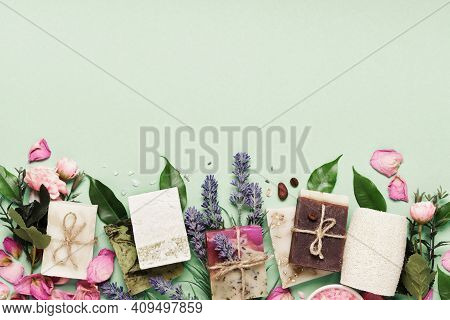Natural Soap Bars With Ingredients. Diy Cosmetics Products. Spa Bath Layout, Copy Space