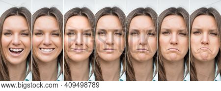 Woman Emotions Range From Extremely Happy To Extremely Sad. Happy And Sad Woman Face. Young Lady Exp