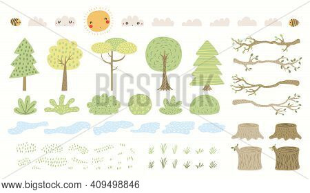 Woodland Landscape Clipart Set, Tree, Bush, Grass, Pond, Isolated On White. Hand Drawn Vector Illust