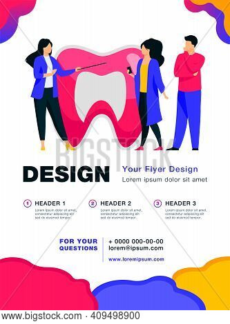 Woman Explaining Tooth Structure To People. Enamel, Lecture, Medicine Flat Vector Illustration. Stom