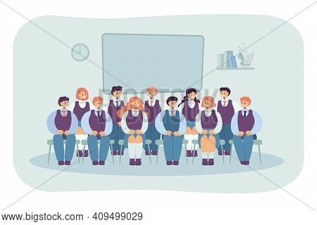 Front View Of Classmates Sitting On Chairs For Photo Isolated Flat Vector Illustration. Cartoon Grou
