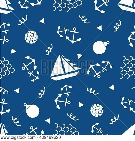 Boats, Anchors, Buoys Vector Seamless Pattern Background. Blue White Backdrop With Yachts, Sailing E