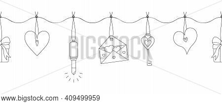 Garland With Romantic Things. Seamless Horizontal Border. Repeating Vector Pattern. The Jewelry Hang