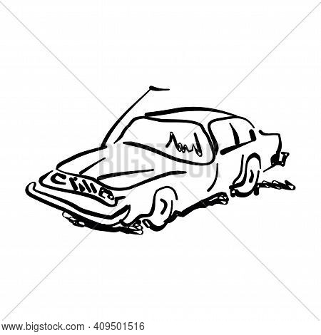 Monochrome Hand Drawn Car On White Background, Black And White Illustrated Sedan.