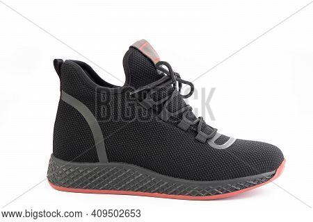 Black High Sport Shoes With Red Soles And Black Lacing. Breathable Mesh Shoe, Flexible And Comfortab