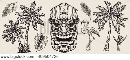 Surfing And Hawaii Elements Concept With Exotic Flowers Leaves Palms Tribal Tiki Mask Flamingo Skele