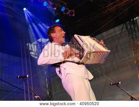 Austrian Musician Hubert Von Goisern Performs On Stage In Linz