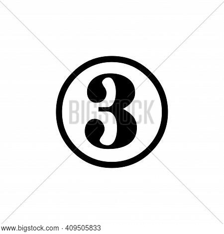 Number 3 Icon Vector. Number 3 Icon Isolated On White Background. Number 3 Icon Simple And Modern.