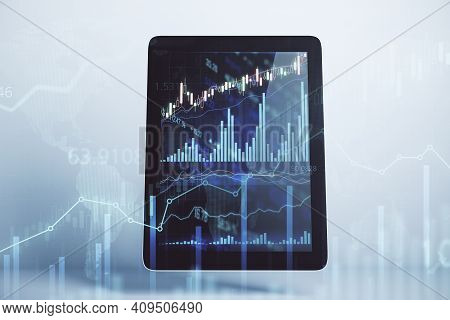 Stock Market Investment Concept With Financial Chart On Digital Tablet Screen And Abstract Transpare