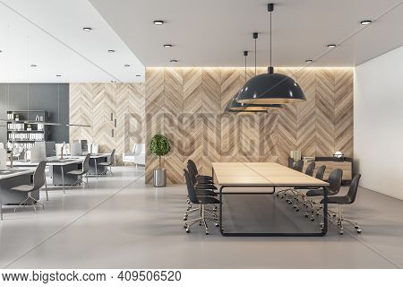 Spacious Coworking Office With Wooden Conference Table, Wall And Light Grey Furniture. Eco Style Int