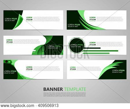 Set Six Business Vector Abstract Green Banner Design Template. Collection Of Web Banner Template. Ab