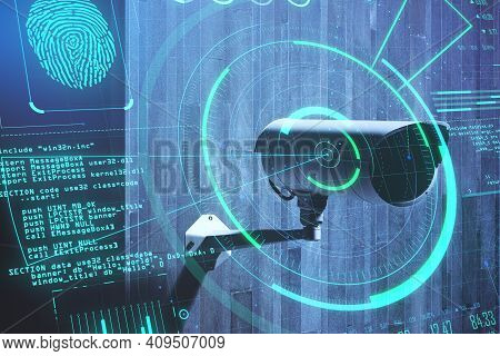 Personal Data Security Concept With Digital Screen With Fingerprint, Digital Code And Radar At Cctv