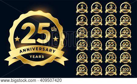 Wedding Anniversary Golden Badge Label Logotype Set